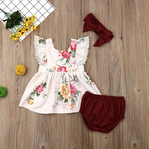 Toddler Kids Baby Girl Ruffles Lace Short Sleeve Floral Top and Short Dress set