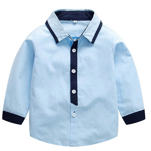 Baby Boys Shirts New Arrival Kids Clothes Baby Blue Cotton Shirts Long-sleeved
