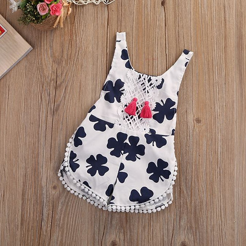 Baby Girl Romper Sleeveless Cotton Pullover Floral O-Neck Jumpsuit Playsuit
