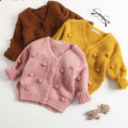 Baby Sweater Coat Winter Autumn Warm Solid Knitted Ball Button Fly Wool Cloth