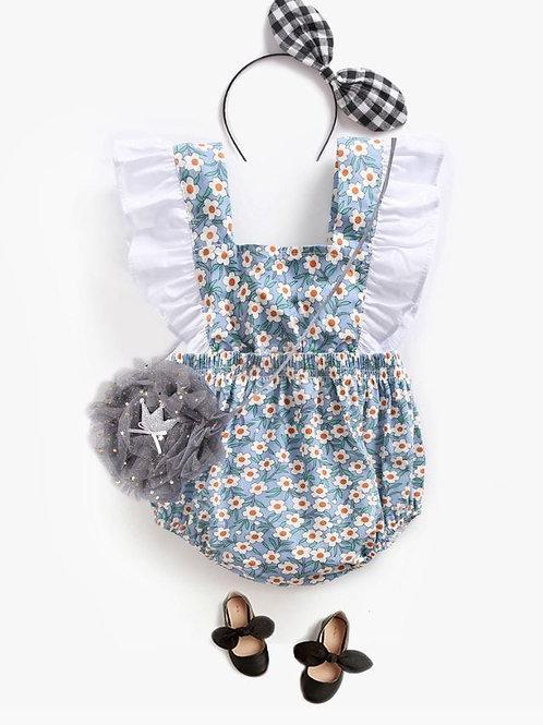 Baby Rompers Climbing Dress Flower Strap Summer Ruffle Jumpsuit