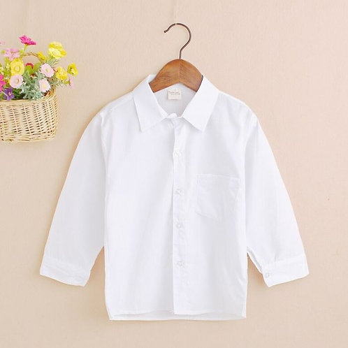 Baby Boy Long Sleeve Cotton Shirt Baby Formal Tops Pure Color Blouses Shirts
