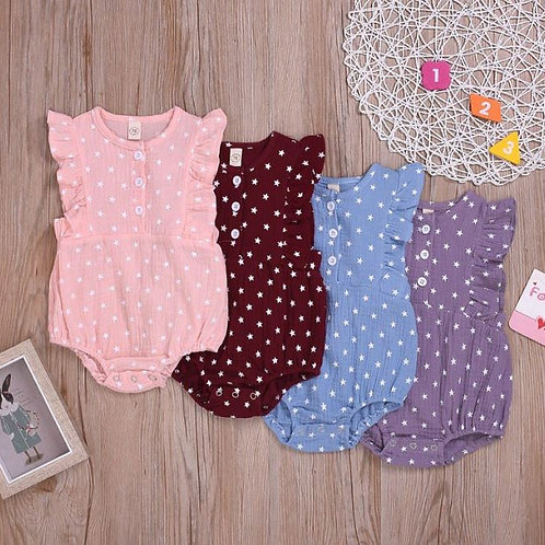 Baby Girl Star Pattern Jumpsuit Flare Sleeve Romper Infant Casual Jumpsuit