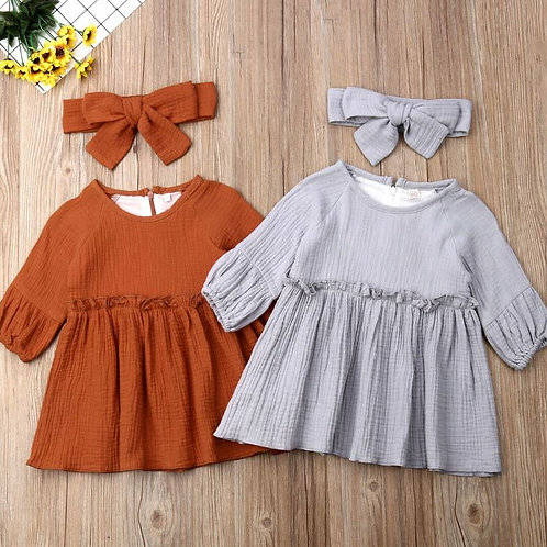 Toddler Baby Girls Solid Clothes Long Sleeve Dress+Headband Sets Pleated Cotton