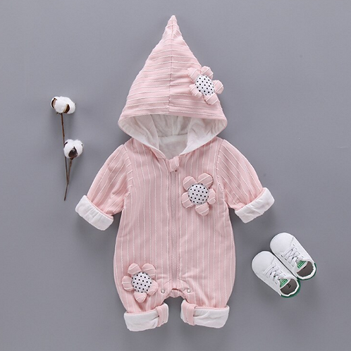 Baby Long-sleeved Rompers Hooded Jumpsuits Baby Cotton Clothes Rompers