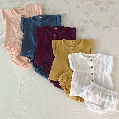 Baby Girl Casual Plain Clothes set Short Sleeve Summer Tops Tutu Shorts Outfit