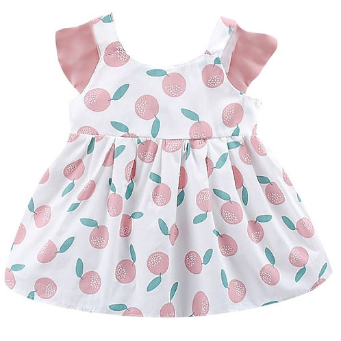 Casual Baby Girls Sleeveless Strap Dress With Wings Design Cotton Toddler