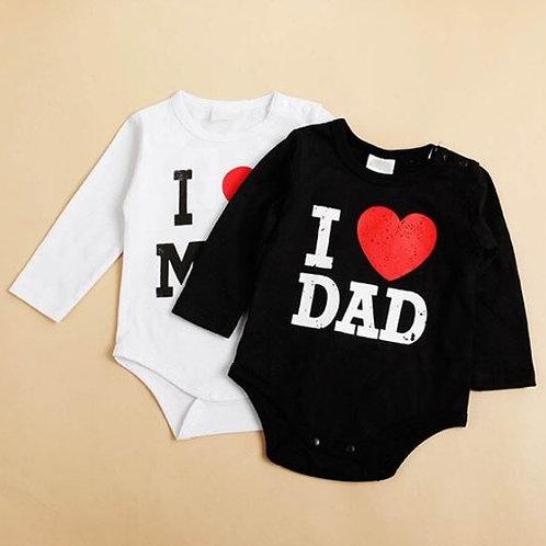 I Love MOM/DAD Infant Romper do beb menina Romper Jumpsuit Clothes Shirt Infant