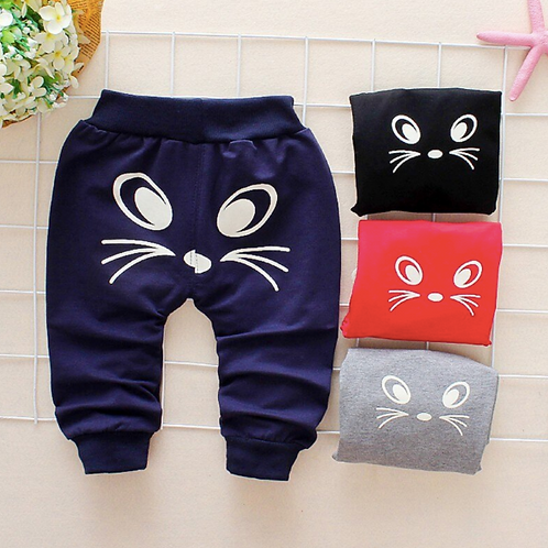 Baby Casual Long Pants Spring Autumn Children Cotton Print Trousers Bottoms