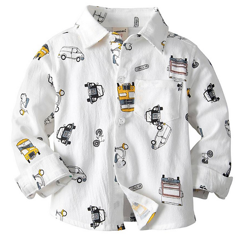 Baby Boys Shirts Kids Clothes Children Turn Down Collar Long-sleeved