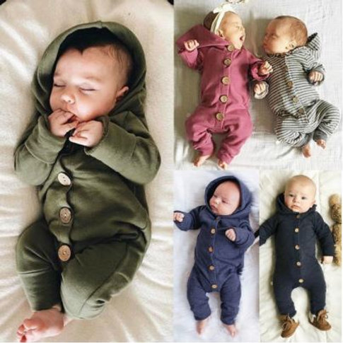Toddler Baby Long Sleeve Button Cotton Jumpsuit Casual Outfit