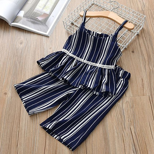 Baby Sets Girls Outfits Striped Print Sleeveless Strap +Long Pants Casual Sets