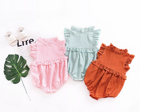 Baby Girls Clothes Ruffle Romper Sleeveless Jumpsuit Cute Infantil Clothing