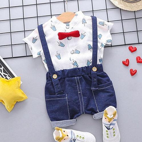Summer Baby Boys Short Sleeve Floral Print Tops Blouse Shirt+Strap Shorts Sets