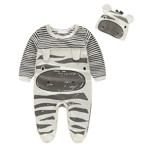 Spring Autumn Casual Baby Cartoon Printing Long Sleeve Footies And Hat Sets