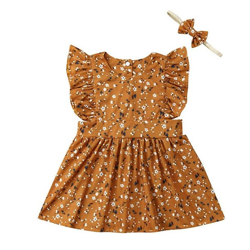 Baby Girls Dress Summer Flare Sleeve Floral Pattern Romper Dress With Headband