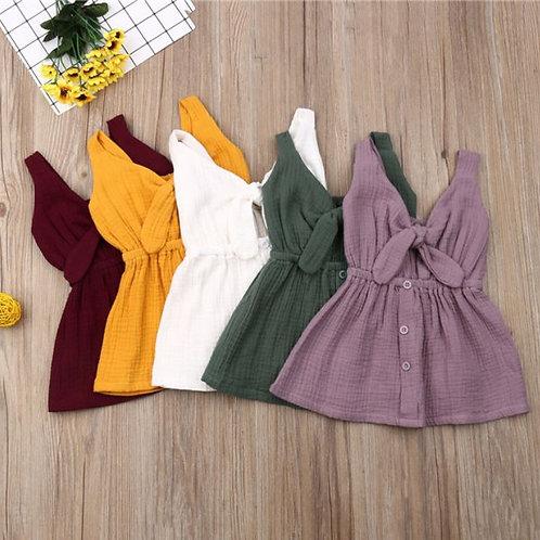 Dresses For Girls Toddler Sundress Cotton&Linen Button A-line Sleeveless