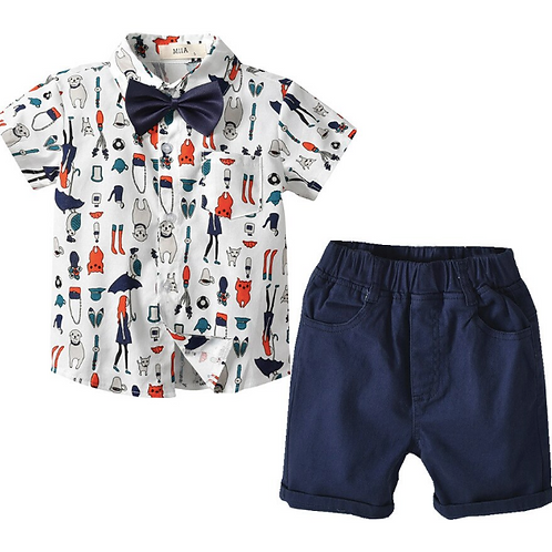 Baby Boys Clothing Sets Baby Kids Short Sleeve Tops+Suspenders Pants 2PCS Sets