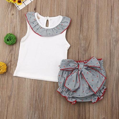 Summer Baby Girls Set Ruffles Sleeveless Tops+ Bow Shorts Outfit 2PCS Toddler