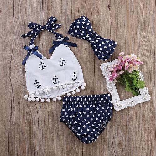 Baby Girls Set Print V Neck Sleeveless Backless Tops + Dot Shorts+ Headband 3PCS