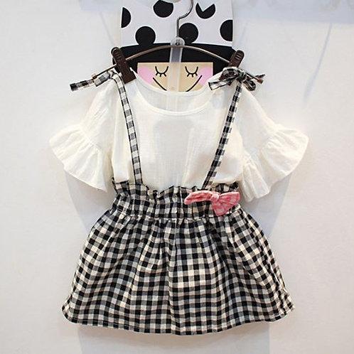 Summer Baby Girl Flare Sleeve T-shirt Blouse Mini Plaid Print Strap Skirts Set
