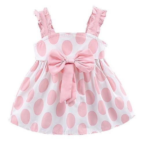 Summer Baby Girls Strap Dot Pattern Casual Cotton Dress Kids Toddler Sundress