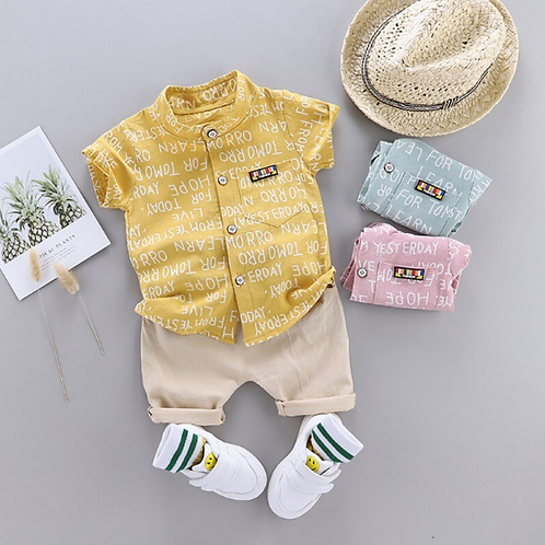 Summer Suit Baby Boys Short Sleeve Letters Print T-shirt Tops+Shorts Set