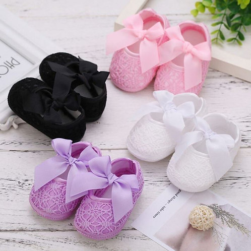 Baby Girl Breathable Anti-Slip Shoes With Bowknot Casual Sneakers Toddler Soft