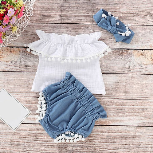 Summer Baby Girls Off-shoulder T-shirt Tops+Denim Shorts With Bow Headband Sets