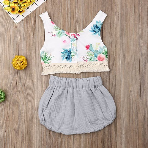 Kids Girls Set Print Sleeveless Tops + Solid Color Shorts 2PCS Outfit Toddler