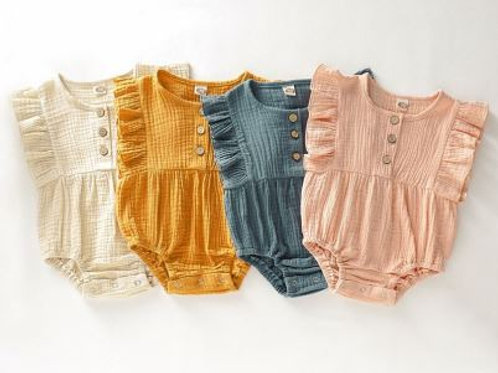 Summer Spring 0-24M Newborn Baby Girl Clothes Sleeveless Jumpsuit Cotton Outfit