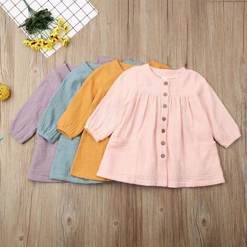 Toddler Baby Girls Cotton Linen Princess Dress Long Sleeve Pocket Solid