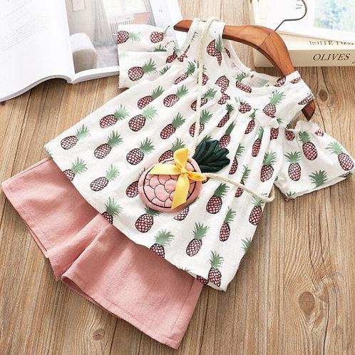 Baby Girl Clothes Set Summer Strapless Pineapple Print Shirt+Shorts+Bag 3PCS