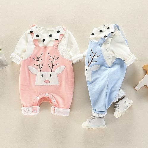 Newborn Winter Autumn clothes Set Top +Overalls Infant Baby Rompers Jumpsuit