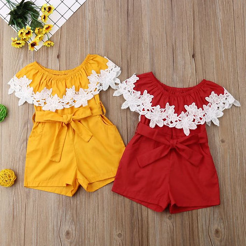 Lace Flower Baby Girl Rompers With Belt Jumpsuit Outfits