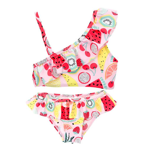 Fruit Print Swimwear Baby Girl Bikini One Off Shoulder Swimsuit Bathing Suit