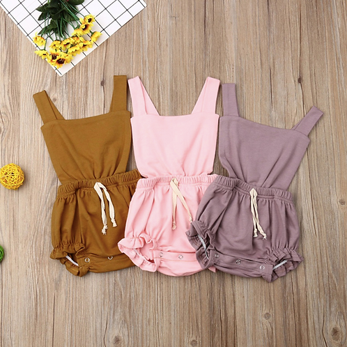 Baby Clothes Plain Solid Sleeveless Backless Summer Romper Eleant