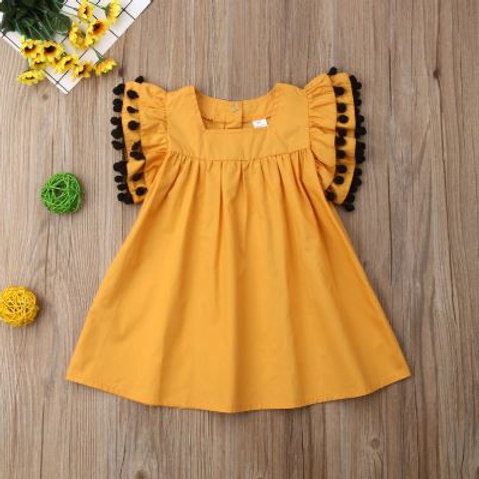 Summer Girls Dress Loose Tassel Toddler Casual Ruffle Sleeve