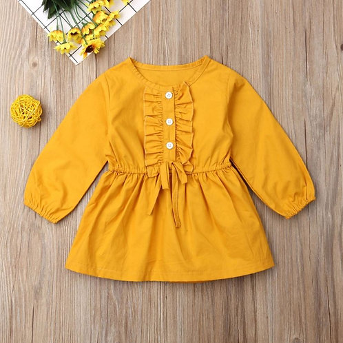 Baby Girl Auutmn Clothes Yellow Ruffled Button Solid Lantem Long Sleeve Dresses