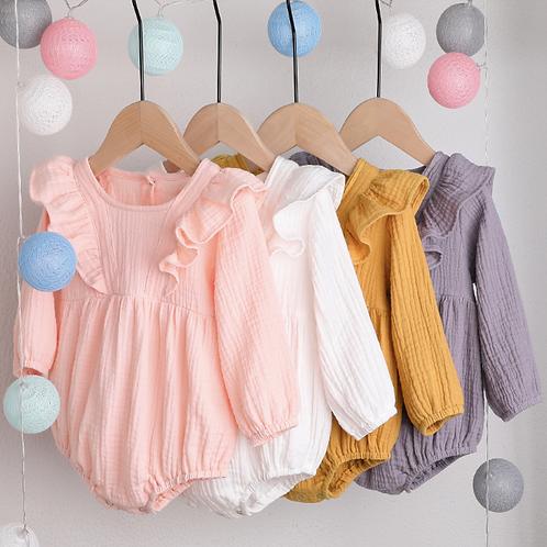 Baby Girl Clothes Long Sleeve Bodysuit Elegant Casual Plain Cotton Bodysuit