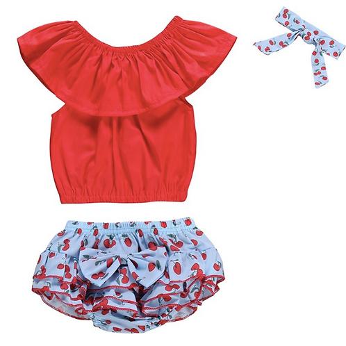 3PCS Baby Girls Clothes Sleeveless Romper+ Cherry Print Pants + Bowknot Headwear