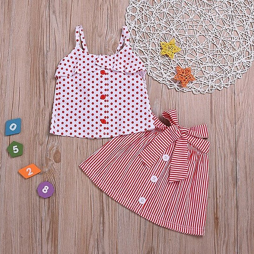 Baby Girls Summer Strap Dot Print Tops Blouse+Striped Short Skirts Suits Set