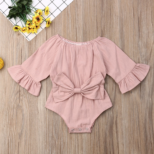 Baby Girl Clothes Long Fare Sleeve Solid Big Bow Bodysuit Jumpsuit
