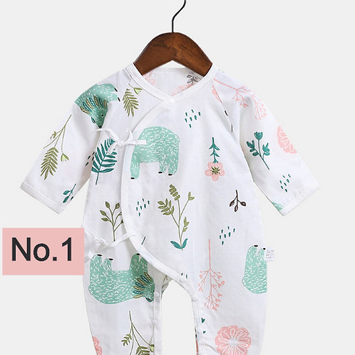 Half Sleeves Newborn Clothes Baby Thin Belt Jumpsuit Infant Cartoon Printed