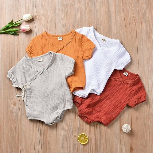 Baby Clothes Summer Short Sleeve Plain Romper Elegant Casual Outfits