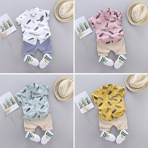 Baby Boys Casual Short Sleeve Floral Feather Fur Print T-shirt Tops+Shorts Sets