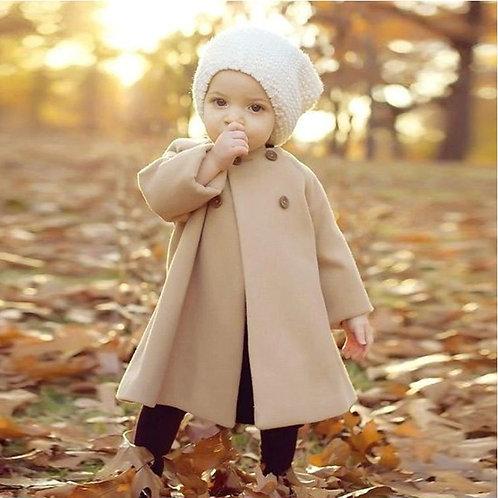 Autumn Winter Girls Cloak Button Jacket