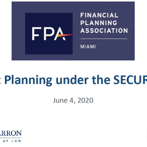 """SECURE Act for Clients' Planning"" 
