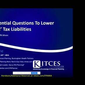 Jeff Levine | 10 Essential Questions to Lower Clients' Tax Liabilities | November 19th, 2020