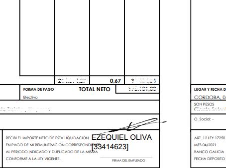 [08/07/2021] Firma y Aclaración en Recibos de sueldo.